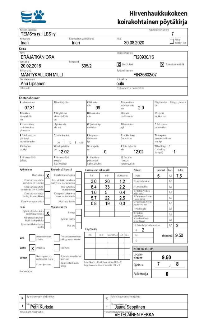 Eräjätkän Ora HIRV Inari 30082020